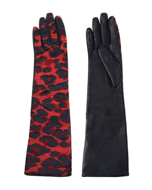 Lanvin | Red Shiny Leopard Jacquard Gloves | Lyst
