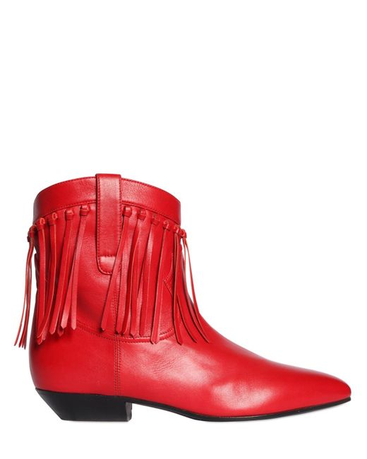 Saint Laurent | Red 25mm Titi Fringed Leather Boots | Lyst