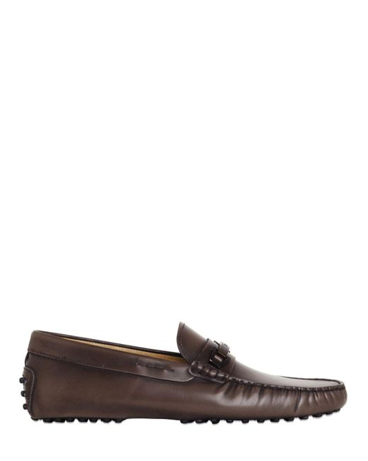 Tod's | Brown Gommino Brushed Leather Driving Shoes for Men | Lyst