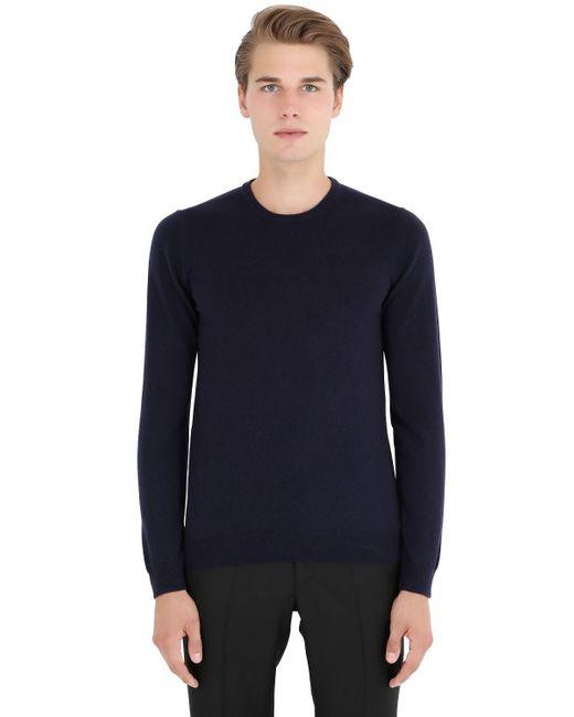 Incotex | Blue Crew Neck Cashmere Sweater for Men | Lyst