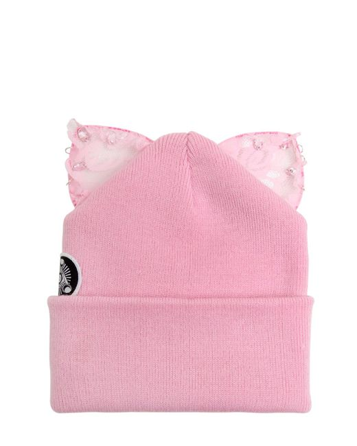 Silver Spoon Attire | Pink Bad Kitty Beanie Hat With Lace Ears | Lyst