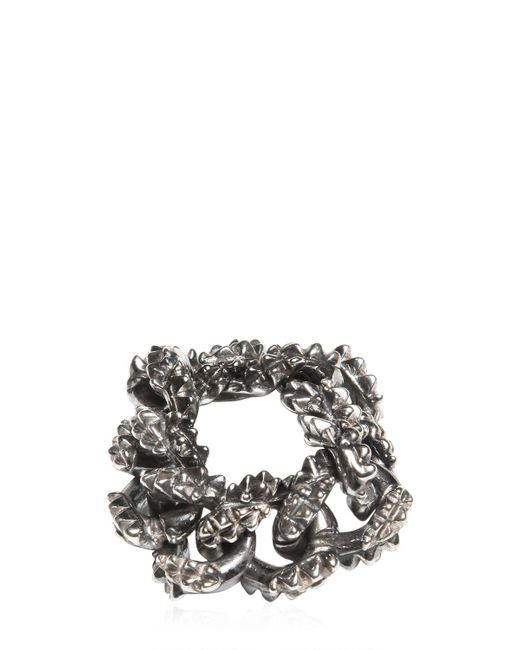 Emanuele Bicocchi | Metallic Spiked Silver Chain Ring | Lyst