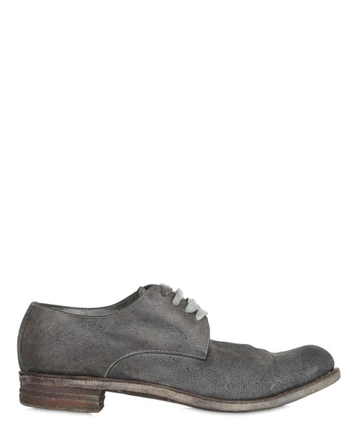 A Diciannoveventitre | Gray Washed Crust Leather Derby Lace-up Shoes for Men | Lyst