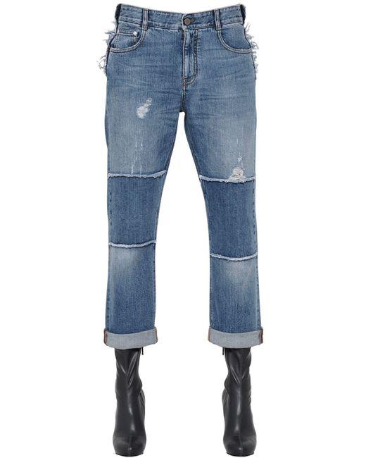Stella McCartney | Blue Distressed Patchwork Organic Denim Jeans | Lyst