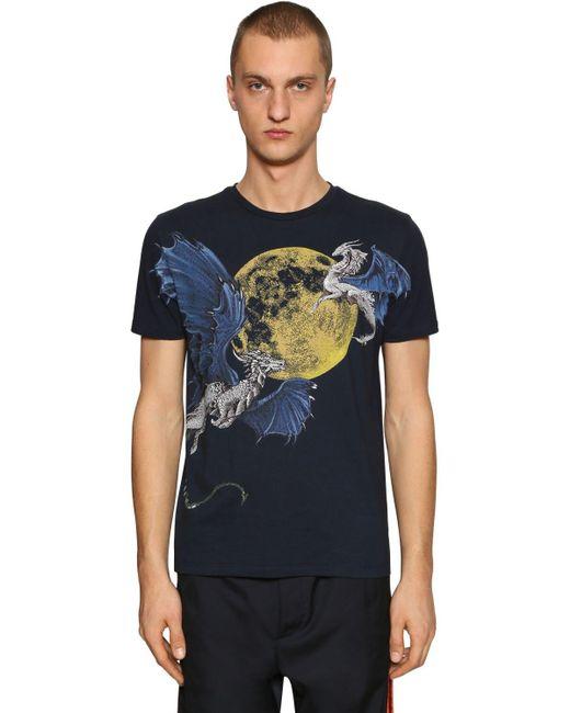 メンズ Etro ハンドペイント コットンジャージーtシャツ Blue