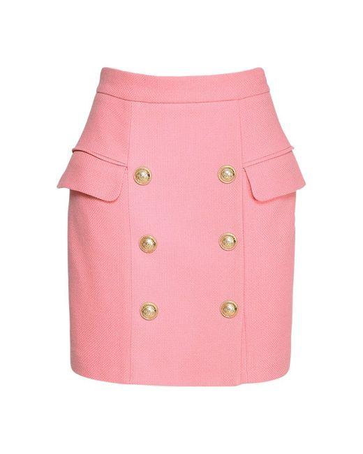 Юбка Из Хлопка Balmain, цвет: Pink