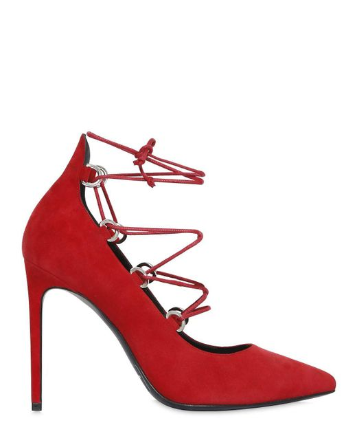 Saint Laurent   Red 105mm Paris Skinny Lace-up Suede Pumps   Lyst