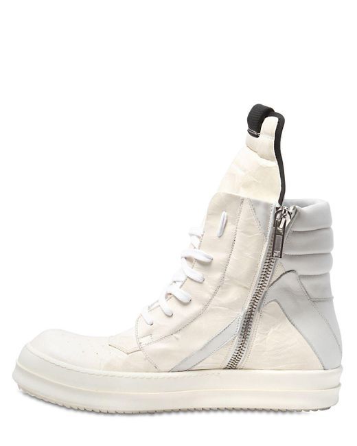 Rick Owens GEO BASKET PERGAMENA EFFECT LEATHER 7ac3p7lR0n