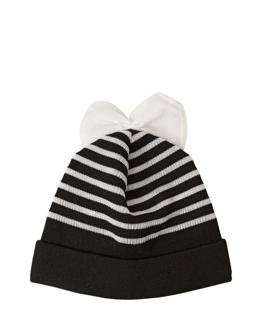 Federica Moretti | Black Striped Cotton Blend Beanie Hat With Bow | Lyst