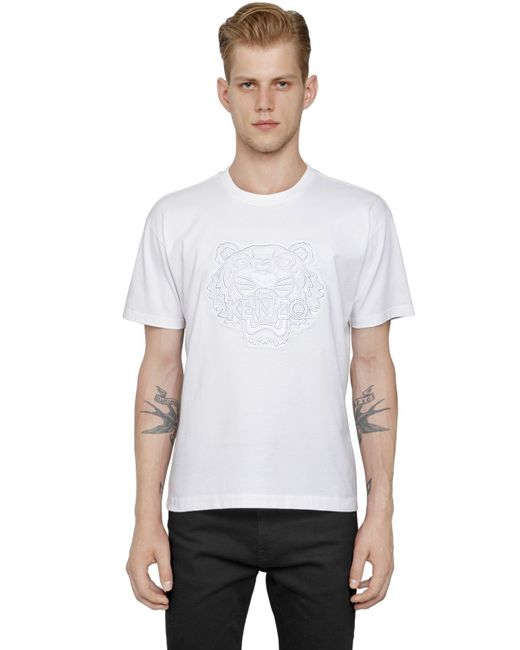 Kenzo mesh tiger embroidered cotton t shirt in white for for Embroidered mesh t shirt