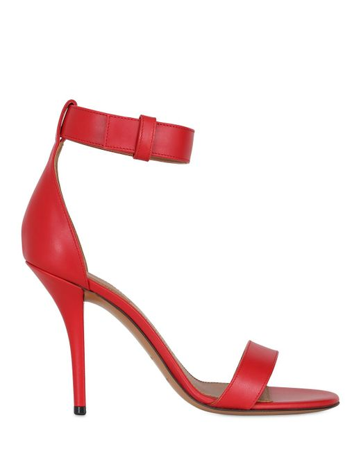 Givenchy | Red 100mm Retra Leather Sandals | Lyst