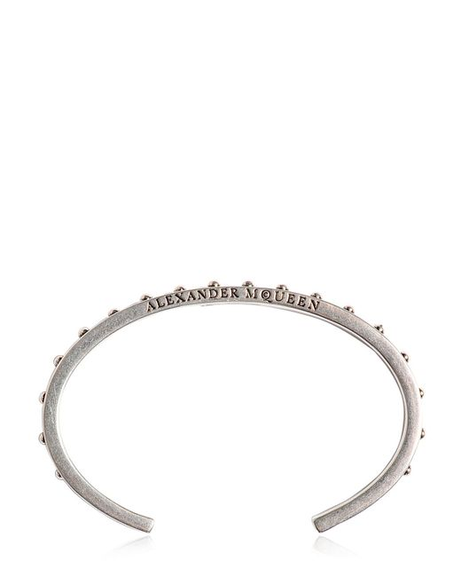 Alexander McQueen | Metallic Studded Metal Bracelet for Men | Lyst