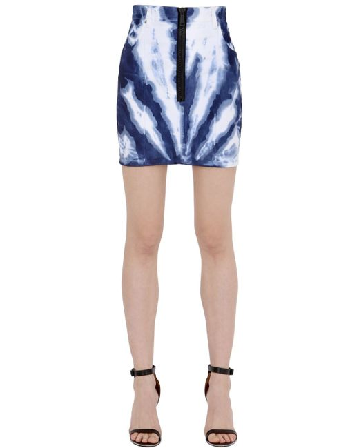 dsquared 178 tie dyed stretch cotton denim skirt in white lyst