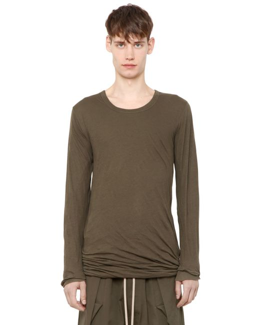 Rick Owens | Green Double Cotton Jersey Long Sleeve T-shirt for Men | Lyst