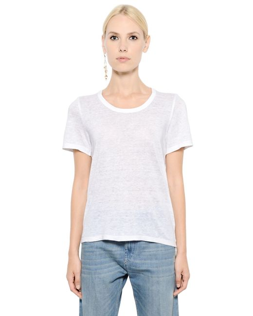 Toile Isabel Marant Linen Jersey T Shirt In White Lyst