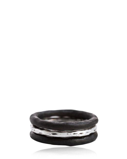 Henson | Black Horn & Silver Ring Set for Men | Lyst