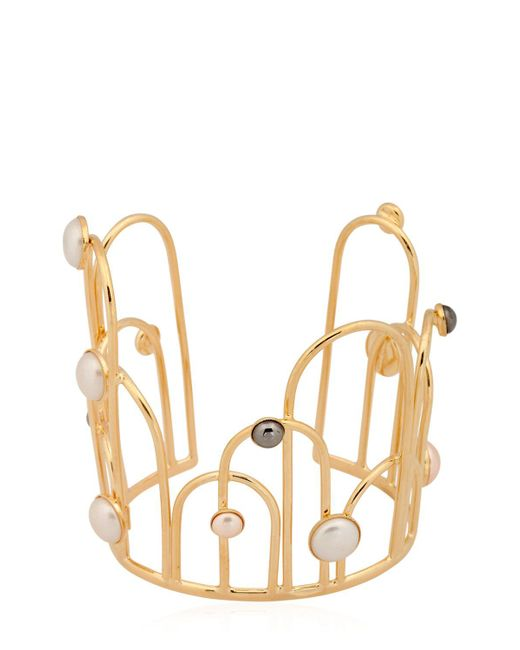 Sharra Pagano | Metallic Faux Pearl Cuff Bracelet | Lyst