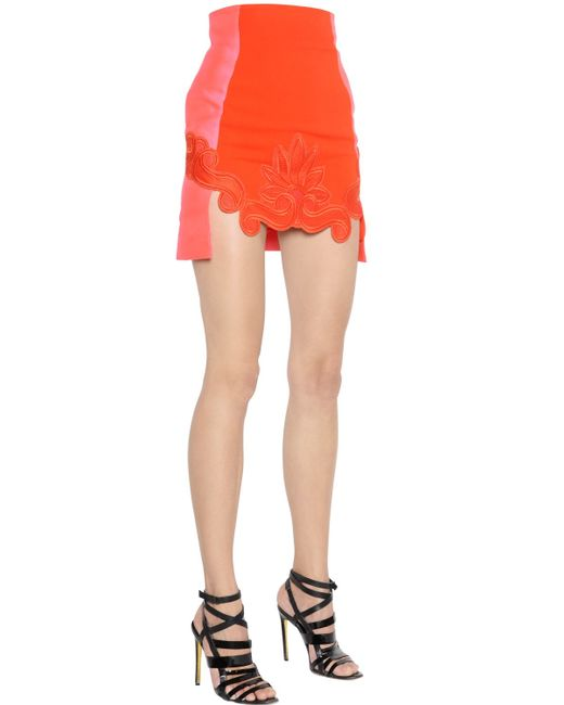 Antonio Berardi | Red Stretch Crepe Cady & Macramé Lace Skirt | Lyst