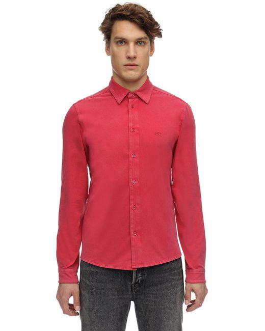 メンズ Balenciaga ウォッシュドコットンストレッチシャツ Red