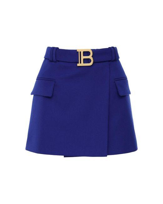 Balmain ウールミニスカート Blue