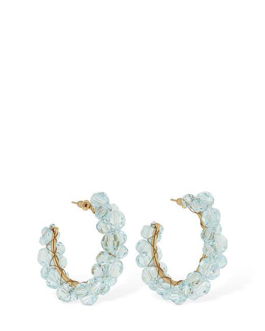 Simone Rocha Blue Crystal Embellished Hoop Earring