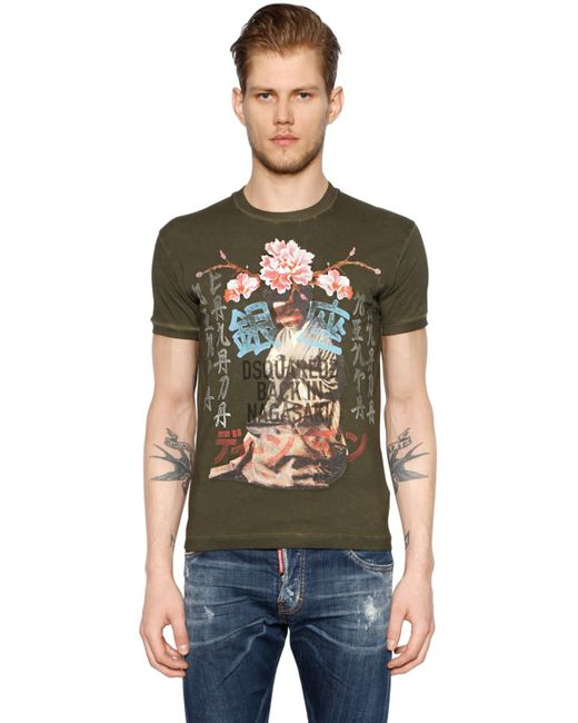 DSquared² | Green Geisha Printed Washed Jersey T-shirt for Men | Lyst