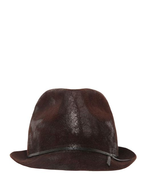Move | Brown Waxed Lapin Felt Hat for Men | Lyst