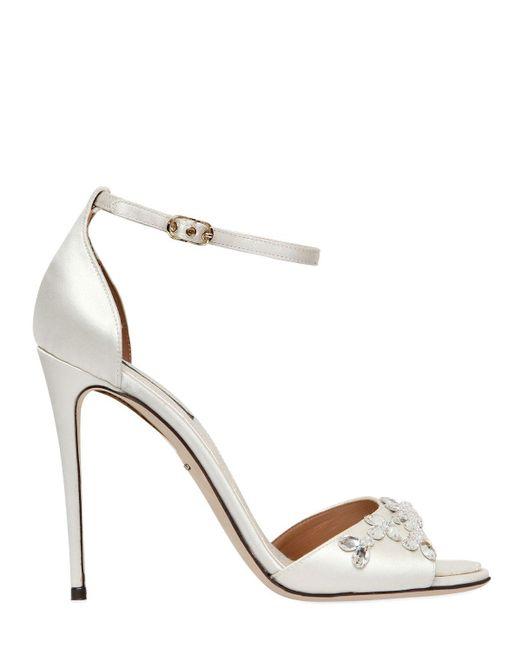 Dolce & Gabbana   White 105mm Swarovski Crystal Satin Sandals   Lyst
