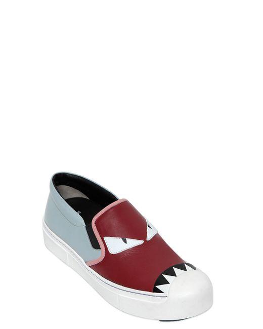 Fendi | Red 20mm Monster Leather Slip-on Sneakers | Lyst