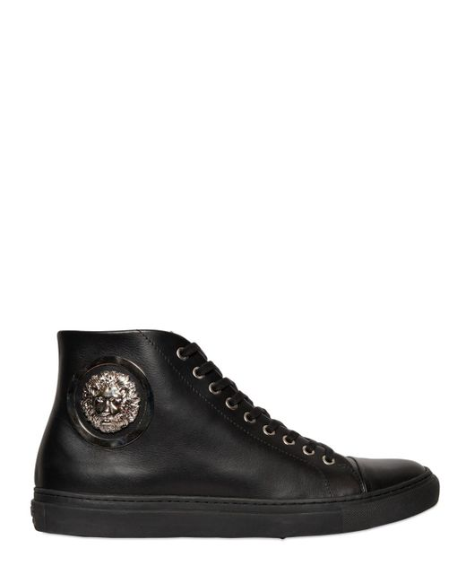 Versus | Black Lion Medallion Leather High Top Sneakers for Men | Lyst