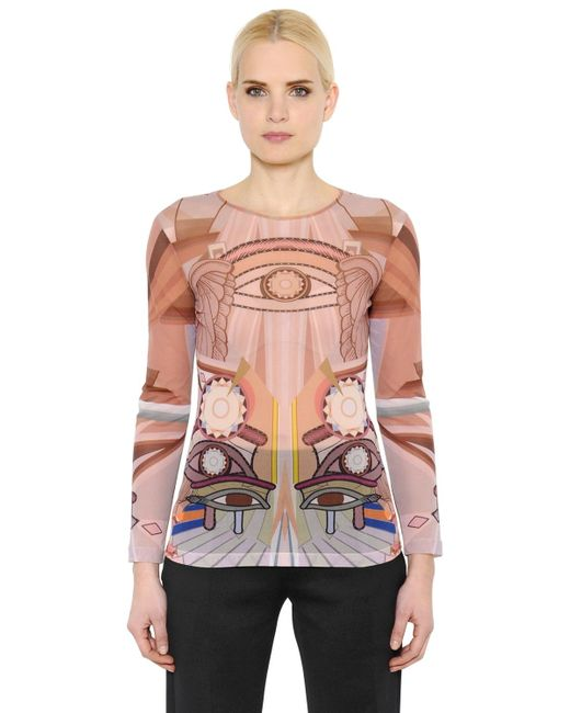 Givenchy | Brown Eye Printed Sheer Stretch Tulle Top | Lyst