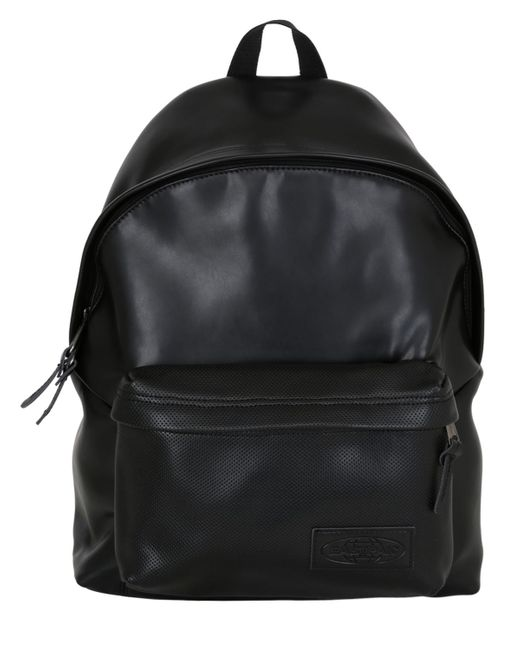 Leather Eastpak Backpack: Eastpak 24l Padded Perforated Leather Backpack In Black