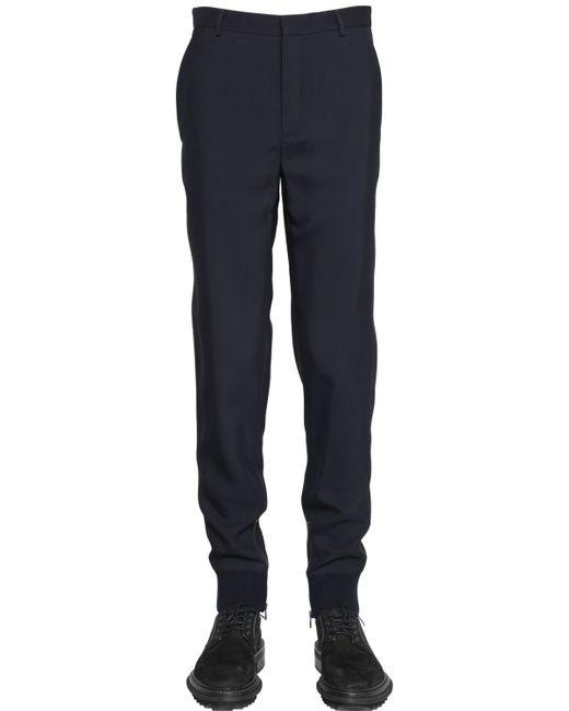 Lanvin | Blue 16cm Viscose & Wool Gabardine Pants for Men | Lyst