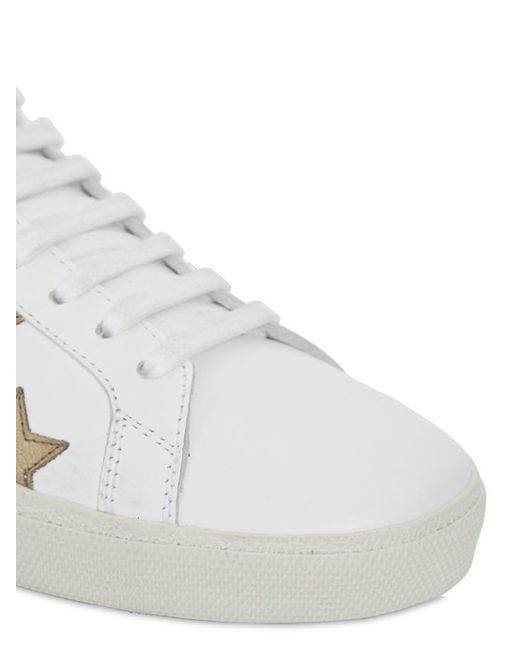 031aa7dd5f302 Saint laurent Court Classic Star Leather Sneakers in White (WHITE GOLD)