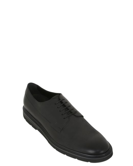 tod s matte soft nappa leather derby shoes in black for