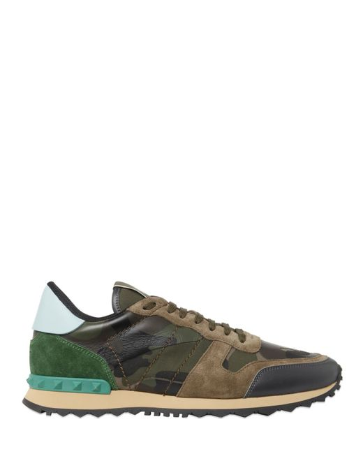 valentino rockstud canvas and leather trainers in brown for men lyst. Black Bedroom Furniture Sets. Home Design Ideas