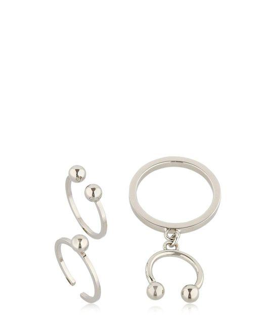 Maria Francesca Pepe | Metallic Pierced Set Of 3 Rings | Lyst