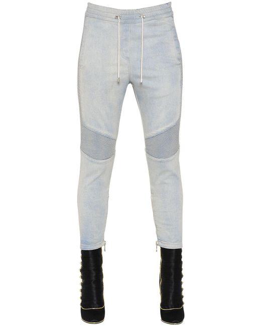 Balmain | Blue Loose Fit Washed Biker Denim Jeans | Lyst