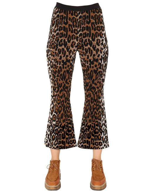 Stella McCartney | Black Flared Leopard Wool Blend Jacquard Pants | Lyst