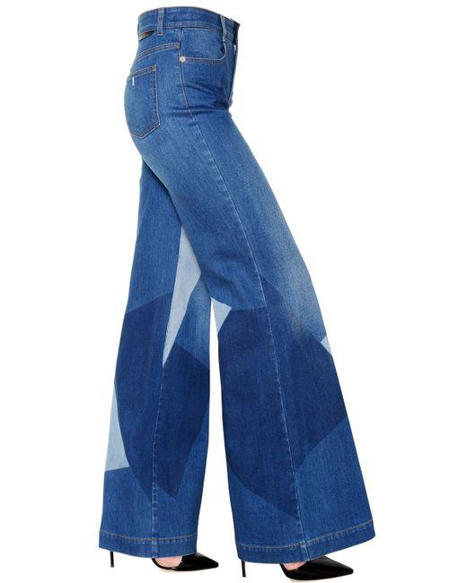 Stella McCartney | Blue Wide Leg Faded Cotton Denim Jeans | Lyst