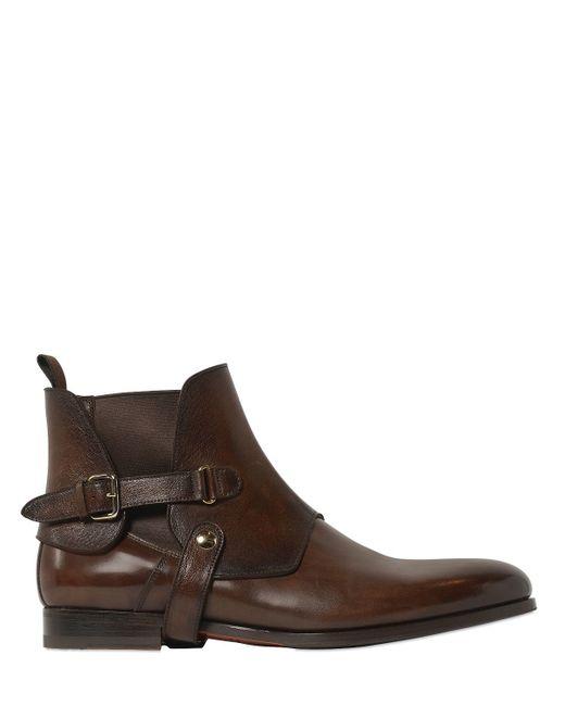 santoni belted leather chelsea boots in brown for men lyst. Black Bedroom Furniture Sets. Home Design Ideas