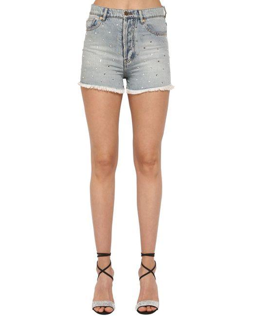 Alexandre Vauthier Blue Crystal Embellished Cotton Denim Shorts