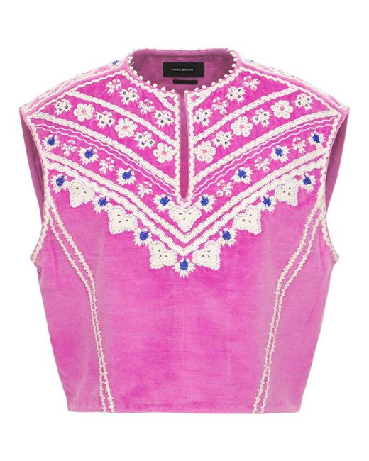 Бархатный Жилет С Вышивкой Isabel Marant, цвет: Pink
