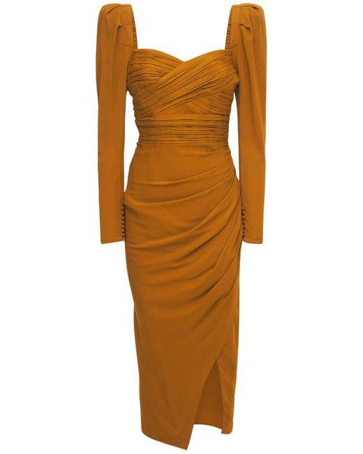 Self-Portrait Multicolor Stretch Crepe Viscose Ruched Midi Dress