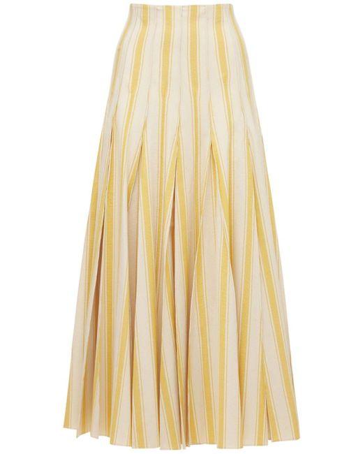 Rosie Assoulin Yellow Midirock Aus Baumwollcanvas Mit Plissees