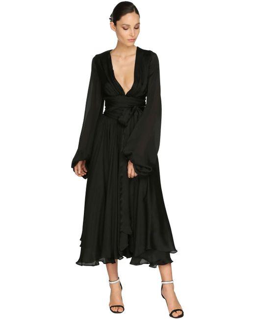 Платье Из Атласа И Шифона Alexandre Vauthier, цвет: Black