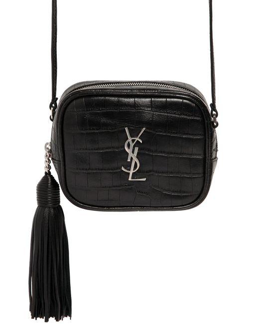 Saint Laurent   Black Monogram Blogger Croc Embossed Bag   Lyst