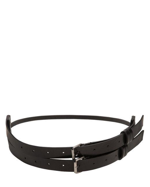 Ann Demeulemeester | Black High Waisted Double Buckle Leather Belt | Lyst