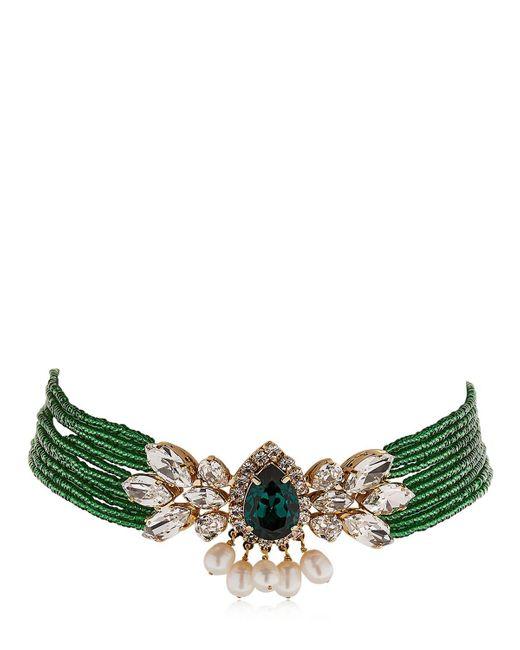 Shourouk | Green Cascade Beaded Crystal Choker | Lyst