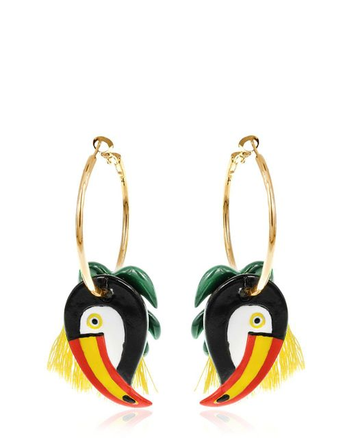 Nach | Metallic Toucan & Palm Leaves Hoop Earrings | Lyst